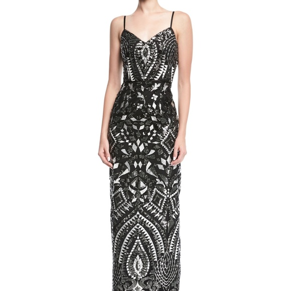 Aidan Mattox Dresses   Embroidered Sleeveless Sequined Gown   Poshmark